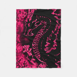 Pink Samurai Spirit Dragon Fleece Blanket