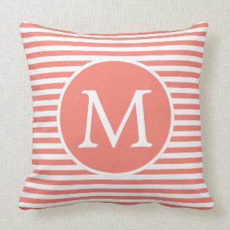 Pink Sand and White Stripes Monogram Throw Pillow