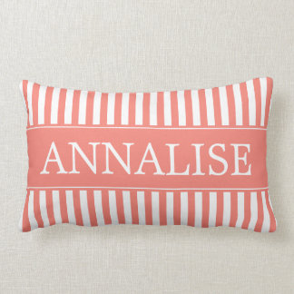 Pink Sand and White Stripes Personalized Lumbar Pillow