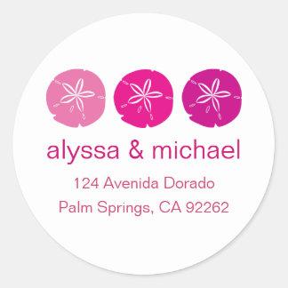 Pink Sand Dollar Address Labels Round Sticker