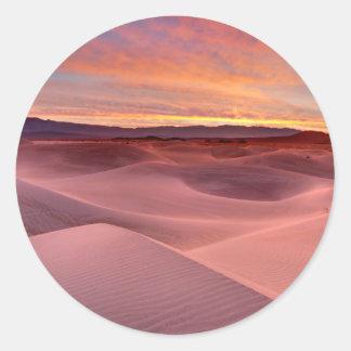 Pink sand dunes, Death Valley, CA Round Sticker