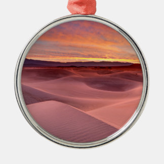 Pink sand dunes, Death Valley, CA Silver-Colored Round Ornament