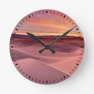Pink sand dunes, Death Valley, CA Wall Clock