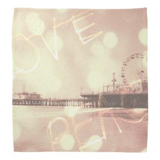 Pink Santa Monica Pier Love Peace Bandana