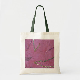 Pink sari with gold sparkles budget tote bag