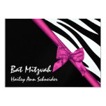 "Pink Satin and Stripes Bat Mitzvah 5"" X 7"" Invitation Card"