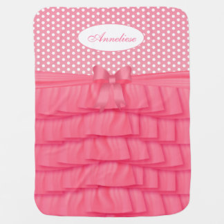 Pink Satin Ruffles and Bow with Polka Dots Baby Blanket