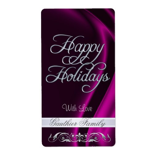 Pink Satin Silver Scroll Happy Holidays Wine Shipping Label