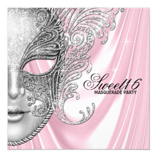"Pink Satin Sweet 16 Masquerade Party 5.25"" Square Invitation Card"
