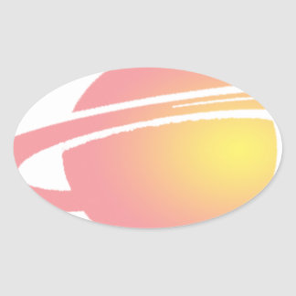 Pink Saturn Oval Sticker