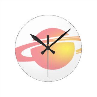 Pink Saturn Round Clock