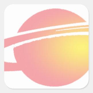 Pink Saturn Square Sticker