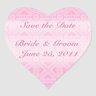 Pink Save the Date Heart Envelope Seal Sticker
