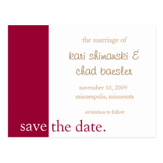 pink save the date modern postcard