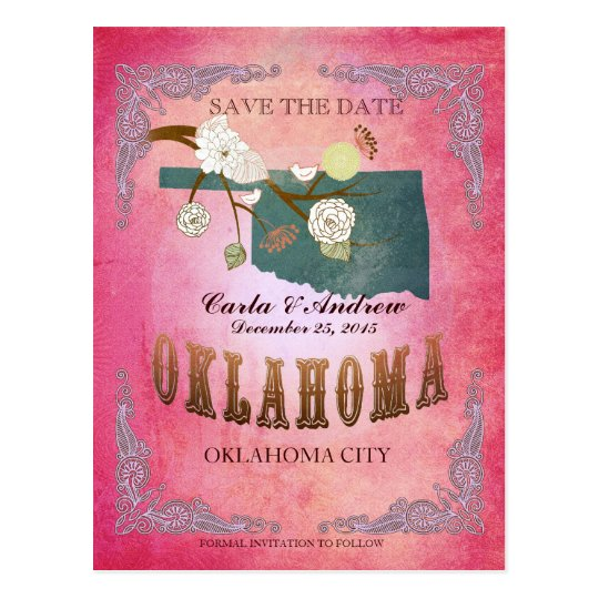 Pink Save The Date -Oklahoma Map With Lovely Birds Postcard