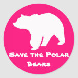 Pink Save the Polar Bears Stickers