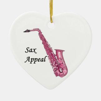 Pink Sax Ceramic Ornament