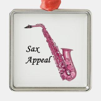 Pink Sax Metal Ornament