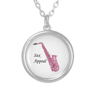 Pink Sax Silver Plated Necklace