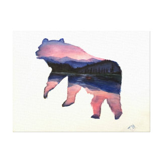 pink scenery bear canvas print
