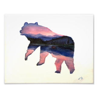 pink scenery bear photo print