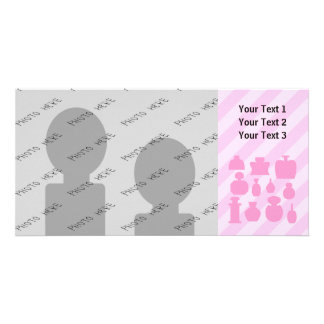 Pink Scent Bottles. Personalized Photo Card