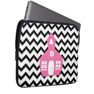 Pink Schoolhouse + Black Chevron Teacher Laptop Sleeve