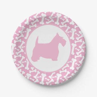 Pink Scottie and Buncha Bones 7 Inch Paper Plate