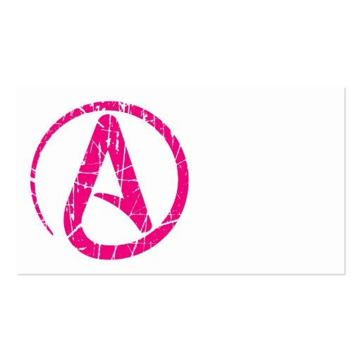 Pink Scratched and Worn Atheist Atheism Symbol Business Card Templates