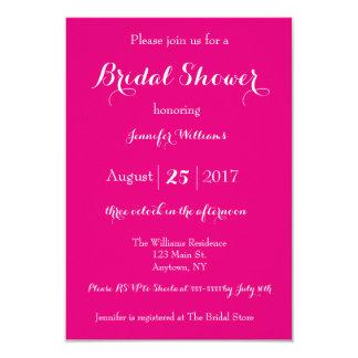 Pink script bridal shower invitations