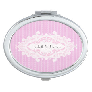 Pink Scrolls and Ribbons Wedding Vanity Mirror