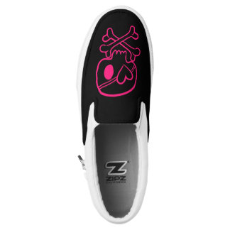 Pink Scull and Crossbones Heart Emo Pirate Girls Slip-On Sneakers