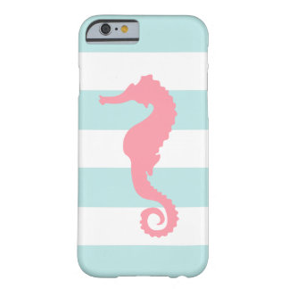 Pink Sea Horse on Mint Stripes Barely There iPhone 6 Case