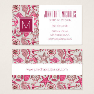 Pink Sea Pattern Business Card