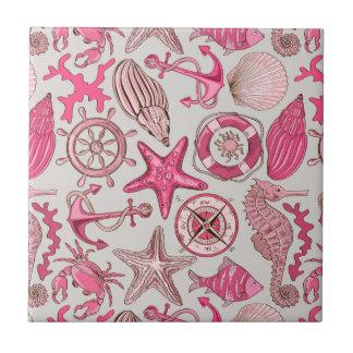 Pink Sea Pattern Ceramic Tiles