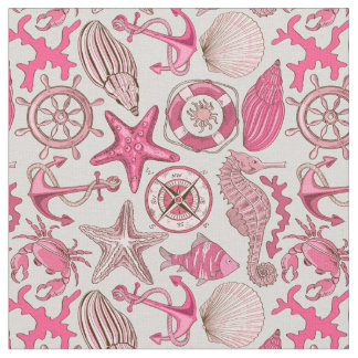 Pink Sea Pattern Fabric