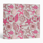 Pink Sea Pattern Vinyl Binder