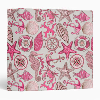 Pink Sea Pattern Vinyl Binder