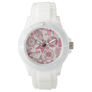 Pink Sea Pattern Wrist Watches