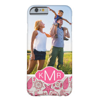 Pink Sea Pattern| Your Photo & Monogram Barely There iPhone 6 Case