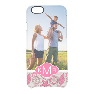 Pink Sea Pattern| Your Photo & Monogram Clear iPhone 6/6S Case