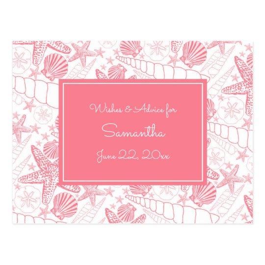 Pink Sea Shells Baby Shower Advice, prayers Postcard