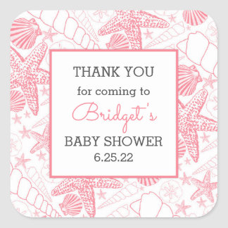 Pink Sea Shells baby shower favor thank you Square Sticker
