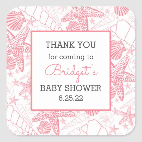 Pink Sea Shells baby shower favour thank you Square Sticker