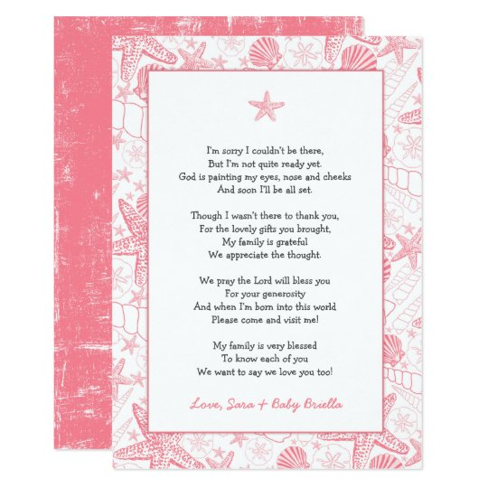 Pink Sea Shells baby shower thank you note poem Card
