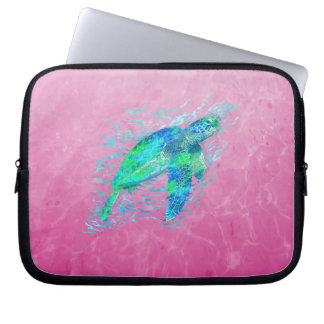 Pink Sea Turtle Laptop Computer Sleeve