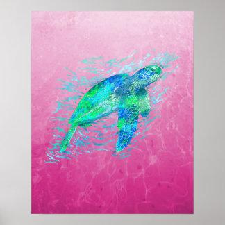 Pink Sea Turtle Print