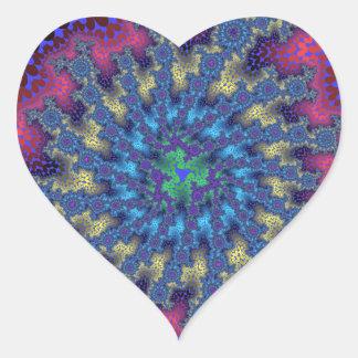 Pink Seafoam Fractal Burst Heart Stickers