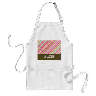 Pink & Seafoam Green Stripes Standard Apron