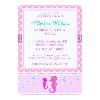 Pink Seahorse Baby Shower Invitation